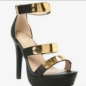 Torrid Black & Gold Strappy Open Toe Heels